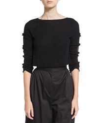The Row - Black Jian Cashmere Bow-sleeve Sweater - Lyst
