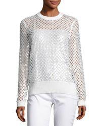 MICHAEL Michael Kors   White Long-sleeve Sequined Mesh Sweater   Lyst