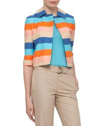 Akris Punto - Multicolor Striped 3/4-sleeve Cropped Jacket - Lyst