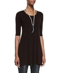 Eileen Fisher | Brown Half-sleeve Silk Jersey Tunic | Lyst