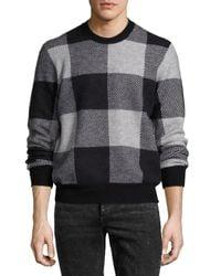 Rag & Bone   Gray Addison Gingham Jacquard Felted Wool Crewneck Sweater for Men   Lyst