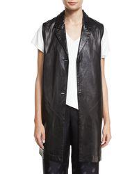Shamask | Black Button-front Long Leather Vest | Lyst