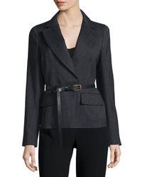 Donna Karan   Black Long-sleeve Belted Jacket   Lyst