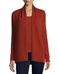 Neiman Marcus | Red Modern Open Cashmere Cardigan | Lyst