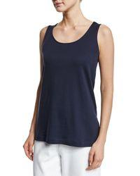 Joan Vass   Blue Scoop-neck Cotton Interlock Tunic/tank   Lyst