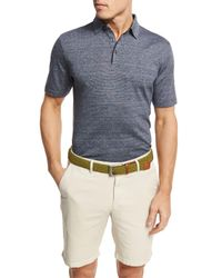 Peter Millar | Blue Needle-stripe Linen-cotton Polo Shirt for Men | Lyst