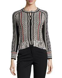 Oscar de la Renta | Black Collarless Tweed Jacket With Fringe Trim | Lyst