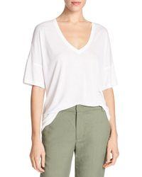 Vince | White Drop-shoulder V-neck Jersey T-shirt | Lyst