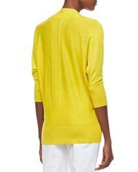 Neiman Marcus | Yellow V-neck 3/4-sleeve Silk/cashmere Sweater | Lyst