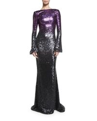 Pamella Roland | Black Long-sleeve Ombre Sequined Gown | Lyst