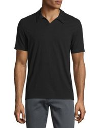 John Varvatos - Black Johnny-collar Short-sleeve Polo Shirt for Men - Lyst