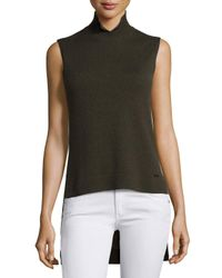 Akris | Green Sleeveless High-low Cashmere Sweater | Lyst