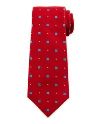 Kiton | Red Neat Flower-print Silk Tie for Men | Lyst