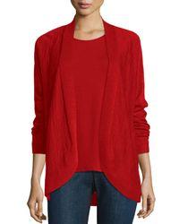 Eileen Fisher | Red Fine Tencel® Alpaca Oval Cardigan | Lyst