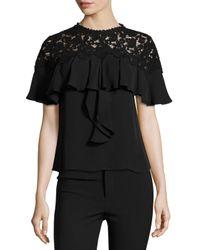 Rebecca Taylor | Black Ruffled Lace-yoke Georgette Top | Lyst