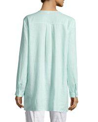 Eileen Fisher - Blue Organic Linen Long Shirt - Lyst