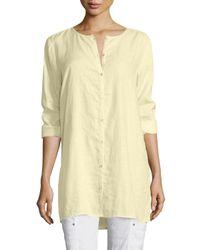 Eileen Fisher | Blue Organic Linen Long Shirt | Lyst