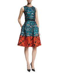 Oscar de la Renta | Red Mixed-print Fit-&-flare Dress | Lyst