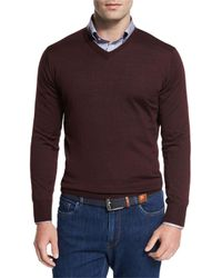Peter Millar | Purple Collection Merino-silk V-neck Sweater for Men | Lyst