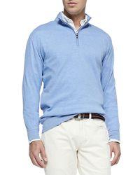 Peter Millar | Blue Cotton-blend 1/2-zip Pullover for Men | Lyst