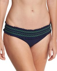 Tory Burch | Blue Costa Embroidered Hipster Swim Bottom | Lyst