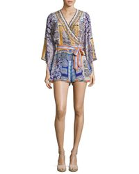 Camilla | Blue Belted Kimono-sleeve Silk Playsuit | Lyst