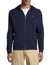 Lacoste | Blue Slub Fleece Zip-front Hoodie for Men | Lyst