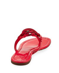 Tory Burch - Red Miller Medallion Leather Flat Sandal - Lyst