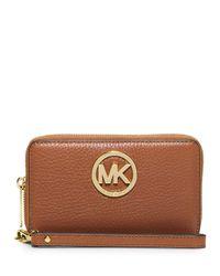 MICHAEL Michael Kors | Brown Fulton Large Flat Multifunction Phone Wallet | Lyst