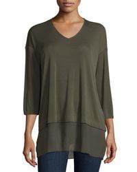 Eileen Fisher - Green Half-sleeve Silk Jersey Blouse - Lyst