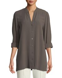 Eileen Fisher - Gray Silk Georgette Crepe Button-front Top - Lyst