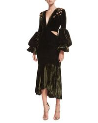 Johanna Ortiz - Black Analetta Beaded Velvet Midi Dress - Lyst