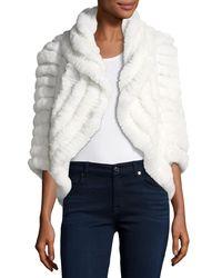 Neiman Marcus - Black Luxury Knit Rabbit Fur Striped Shrug - Lyst