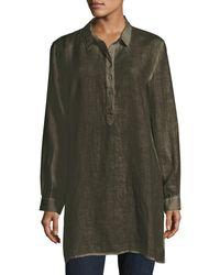 Eileen Fisher | Green Long-sleeve Collared Henley Linen Tunic | Lyst