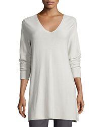 Eileen Fisher   Gray Crisp Cotton Links Long-sleeve V-neck Tunic   Lyst