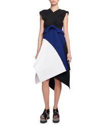 Proenza Schouler - Blue Plissé Colorblock A-line Dress - Lyst