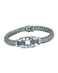 John Hardy | Kali Sterling Silver Bangle Bracelet With Blue Topaz And Iolite | Lyst