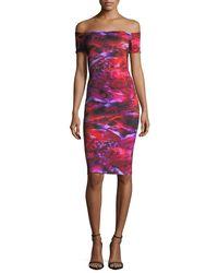 La Petite Robe Di Chiara Boni | Pink Off-the-shoulder Floral Cocktail Dress | Lyst
