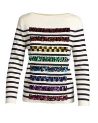 Marc Jacobs | White Sequined Striped Long-sleeve Sweater | Lyst