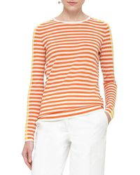 Akris Punto - Orange Striped Crewneck Pullover Sweater - Lyst