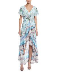 Camilla - Blue Frill-sleeve Silk Wrap Coverup Dress - Lyst