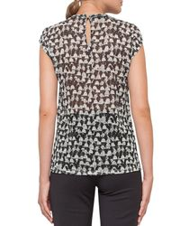 Akris - Black Ai-print Cap-sleeve Blouse - Lyst