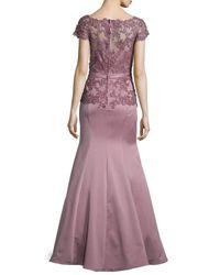 La Femme - Brown Belted Lace-trim Satin Gown - Lyst