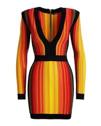 Balmain | Red Striped V-neck Long-sleeve Mini Dress | Lyst