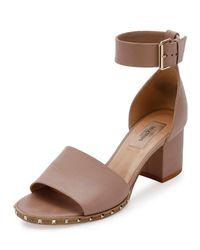 Valentino - Brown Soul Rockstud 65mm City Sandal - Lyst
