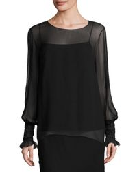 The Row - Black Laver Crinkled Chiffon Blouse - Lyst