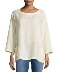 Eileen Fisher | Natural Organic Handkerchief Linen Tunic W/ Pockets | Lyst