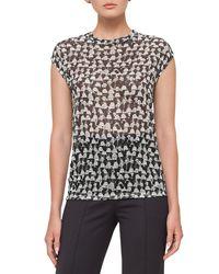 Akris | Black Ai-print Cap-sleeve Blouse | Lyst