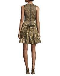 Elie Saab - Sleeveless Metallic Star-lace Ruffled Dress - Lyst
