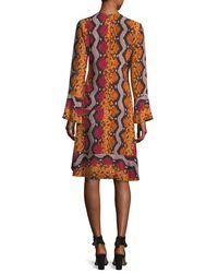 Etro | Orange Snake-print Bell Sleeve Silk Dress | Lyst